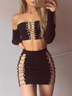 Off Shoulder Ladder Patchwork Cropped Skirt Set Sexy Outfits, Club Outfits, Club Dresses, Skirt Outfits, Sexy Dresses, Summer Outfits, Fashion Outfits, Clubbing Dresses, Style Fashion