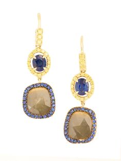 London Collections - 18K Oval Sapphire and Diamond Slice Earrings