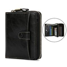 5b9a6a195563a Geldbörse Damen Klein echtes Leder Geldtasche RFID Blocking  Kreditkartentasche Große Kapazität Mini Frauen Geldbörse mit feiner