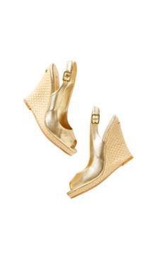 Put some pep in your step with Lilly Pulitzer Kristin Wedges in Gold