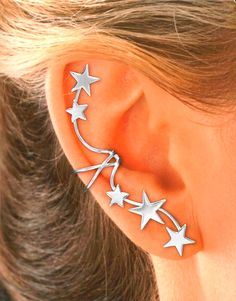 Full Ear 5 Star Ear Cuffs  Single STERLING or GOLD by EarCharms, $39.00