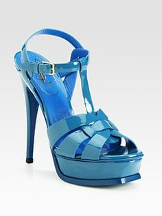 Yves Saint Laurent - YSL Tribute Patent Leather Platform Sandals