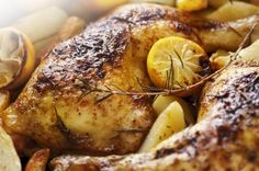 Paleo-Roasted Chicken with Lemon and Rosemary- take bone in chick breasts, put on shallow baking pan skin side down to start, flip at 20m, finish 15min.