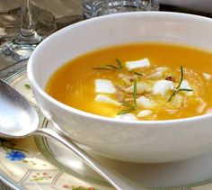 Butternut Squash Soup with Goat Cheese, Honey and Fresh Rosemary
