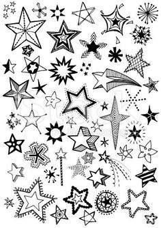 Hand drawn doodle stars, black and white vector illustration.