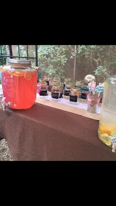 Drink table! Pink lemonade, flavored water mason jar mugs! Gender reveal party!! Country themed Florida. Baby skipper November 8th 2014. Deployment pregnancy milso strength.