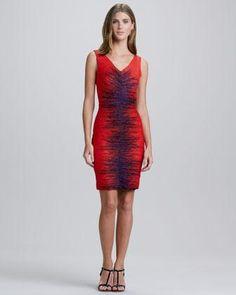 Halston Heritage Fitted Sleeveless Ruched Dress - Neiman Marcus Ruche Dress #topfashion womenfashion #sasssjane #RucheDress #Ruche #Dresses  www.2dayslook.com