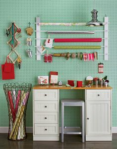 Pegboard for craft room.I put pegboard n all the walls in the back room of the library in my previous school. Ribbon Organization, Craft Organization, Organization Station, Organizing Crafts, Closet Organization, Peg Board Walls, Peg Boards, Diy Wrapping Paper, Gift Wrapping