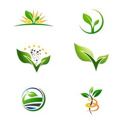 Illustration of Agriculture Farm Natural Plant Grow Logo Collection vector art, clipart and stock vectors. Plant Logos, Branding Design, Logo Design, Water Logo, Farm Logo, Organic Logo, Agriculture Farming, Tree Logos, Leaf Logo