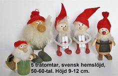 5 trätomtar, svensk hemslöjd, 50-60-tal. på Tradera.com - Tomtar |