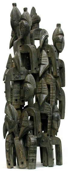 Assemblage of African weaving looms by Arman