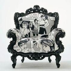 pop art, retro, vintage, comic couch