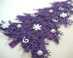 Purple and Silver Christmas / Decorated Purple Christmas Tree Embellishment Purple Christmas Tree, Cool Christmas Trees, Christmas Gift For You, Silver Christmas, Christmas Projects, Handmade Christmas, Holiday Crafts, Christmas Cards, Holiday Ideas