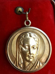 Art Deco French Blessed Mother Mary Medal Pendant Virgin Mary Medal Blessed Virgin Signed Contaux Catholic Jewelry Religious Jewelry Gift by PinyolBoiVintage on Etsy