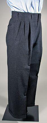 Men's 1940's Charcoal Grey Wool Vintage Trousers SZ 32/30 / Higgins Slacks