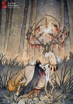 The Wish / Kitsune Fox Girl, Yokai, Deer / Japanese Asian Style / Glossy Postcard Rounded Corners Tea Fox Illustrations Art Art Inspo, Fuchs Illustration, Fantasy Illustration, Character Illustration, Mononoke, Art Asiatique, Style Asiatique, Fox Girl, Deer Girl