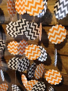 Orange Chevron and Black Chevron Halloween Garland Decor Perfect for Your Halloween Party or to Decorate Your Home for Fall! Halloween Garland, Fall Halloween, Halloween Crafts, Halloween Party, Orange Chevron, Black Chevron, 4th Birthday Parties, Grad Parties, Graduation Open Houses
