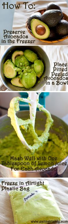 How to Preserve Avocados in the Freezer: great idea when avocados are on sale and in season!