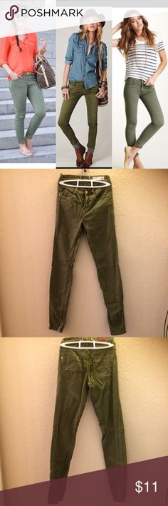 🌟New Listing -Olive green Skinny Jeans These are really nice skinny jeans from Zara. (Just a bit wrinkly in the pic from sitting in my closet). In the last pic you can see that the belt loop came undone and the sewing on the pocket is loose. All cosmetic and easily fixed. But want buyer to be aware. *the 1st pic is style ideas :) Zara Pants Ankle & Cropped