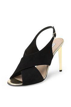 Vick Gold Heel Sandal in in Black