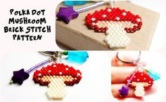 Red & White Polka Dot Mushroom Bead Pattern, Brick Stitch, Delica Seed Beads | DIGITAL DOWNLOAD