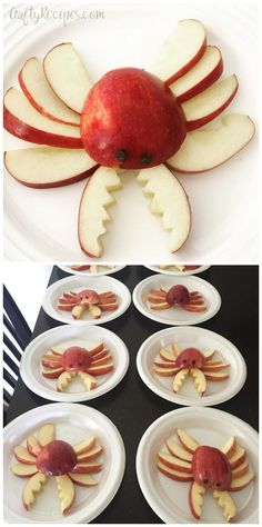 Apple crab snacks for kids to make! So cute for summer or an ocean theme