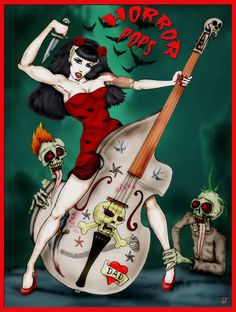 HORRORPOPS HORRORTUNES The seeds for Danish psychobilly sextet, the HorrorPops, were sewn in 1996 during a gig that found bassist/lead si. Rockabilly Pin Up, Rockabilly Fashion, Patricia Day, Facing Fear, Gothabilly, Music Images, Rock Posters, Gothic Art, Pin Up Art