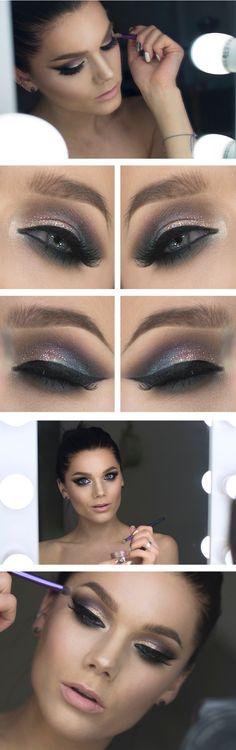 40 Trendy Makeup Looks Glitter Linda Hallberg Contouring Makeup, Skin Makeup, Makeup Lipstick, Beauty Makeup, Makeup Brushes, Linda Hallberg, Makeup Inspo, Makeup Inspiration, Makeup Ideas
