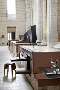 """Abbey de Fontevraud by Patrick Jouin and Sanjit Manku   """"What we wanted for Fontevraud was not the classic hotel and restaurant experience, but something unique; a journey between tradition and modernity that reinterprets the story of Saint-Lazare for the future, marrying emotion, sensual pleasure and poetry,"""" said the designers."""