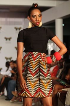 Petekani 7 Short Skirt With Black Stretch Polo Neck