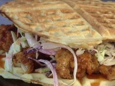 Fried Chicken and Waffle Sliders with Spicy Mayo Recipe : Guy Fieri : Food Network Spicy Mayo Recipe, Food Network Recipes, Cooking Recipes, Fried Chicken And Waffles, Guy Fieri, Good Burger, How To Cook Chicken, So Little Time, Chicken Recipes