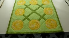 Roses For Mom Vase Mat 13 square.  Yellow Roses.  by Quiltbuilders