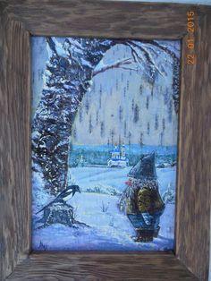картина на бересте, Гном и сорока, зима