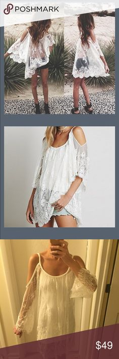 """NWT white lace tunic dress or coverup So sexy! This can literally be either a tunic top or dress based on how tall you are. Medium is approx 32"""" long, 24"""" across bust (one side measured across armpit to armpit), 25"""" across waist and sleeve is approx 16"""" from armpit to hem of sleeve. Large is 32"""" long, 26"""" across bust and 27"""" across waist, sleeves are 16"""". XL approx 33"""" long, 27"""" across bust and 28"""" across the waist and 16"""" sleeve. I'm 5'8 and wearing a large in the last pic. *does not…"""