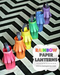 DIY Rainbow Paper Lanterns Kids Craft - Perfect for My Little Pony Birthday Party