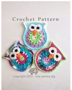 """Owl Appliques or Coasters - PDF Instant Download Crochet Pattern Please note this listing is for a crochet pattern and not finished items.   ƸӜƷ.•°""""˜˜""""°•.ƸӜƷ•°""""˜˜""""°•.ƸӜƷ•°""""˜˜""""°•.ƸӜƷ.•°""""˜˜""""°•.ƸӜƷ•°""""˜˜""""°•.ƸӜƷ•°""""˜˜""""°•.ƸӜƷ  Crochet your own adorable owl coasters or use them as appliques to make a super cute baby blanket, sew them on a sweater or frame them and make some great artwork for the nursery. The possibilities are endless!  These little guys work up very quickly and would be suitable for…"""