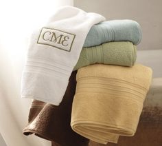 An advanced weaving process results in thousands of fine, untwisted loops that make our Hydrocotton Towels up to 10 times more absorbent than traditional cotton terry. At a fluffy these Turkish cotton towels are supersoft and fast dryin… Monogram Towels, Blue Bath, Turkish Cotton Towels, Weaving Process, Rhodes, Bath Towels, Pottery Barn, Machine Embroidery, Gift Ideas