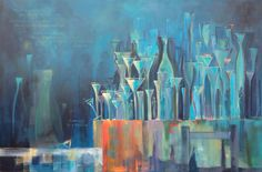Karen Rempel Acrylic Painting. Abstract, Pop Culture, World Culture Art - Message in a Bottle