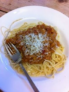 Spaghetti with lentil & tomato sauce - vegetarian - super delicious--one of my favorites!