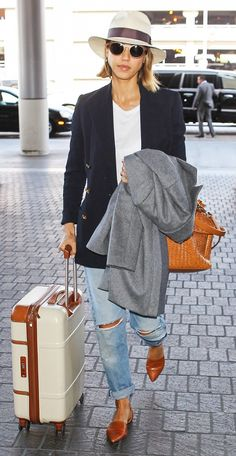 Jessica Alba in an oversized blazer, t-shirt, and coat