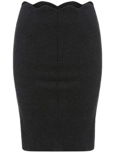 Dark Grey Slim Scalloped Skirt 10.99