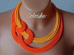 Collier orange fluo collier avec noeud collier orange