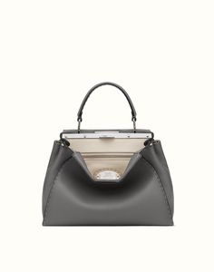 FENDI PEEKABOO SELLERIA - Handbag in grey Roman leather