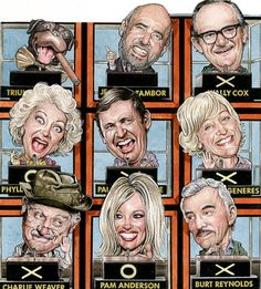 """Drew Friedman :: """"Hollywood Squares"""", Entertainment Weekly (2002)"""