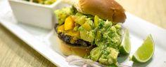 Black Bean Burger with Peach Avocado Salsa Black Bean Burgers, Meatless Monday, Mondays, Black Beans, Whole Food Recipes, Hamburger, Salsa, Avocado, Peach