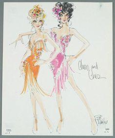 Bob Mackie's sketch for Cher & Charo.