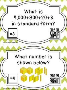 "PLACE VALUE SCAVENGER HUNT - 28 TASK CARDS WITH QR CODES - This item is currently on sale!  Actually, everything at my store is on sale until 10/14!  Plus, if you ""Like"" Teachers Pay Teachers on Facebook, you can find a code for 10% off at checkout."