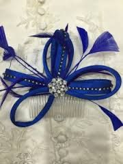 Image result for silver and blue fascinator