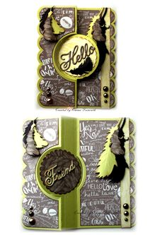 Chocolate & Lime Sizzix Flip it card, using studio calico papers and Joy crafts feather die. 1st image is closed 2nd shows it flipped open.
