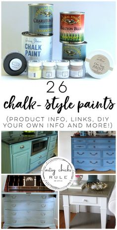 Different Types of Chalk Style Paint For Furniture - artsychicksrule.com #chalkpaint #chalkpaintfurniture #ascp #chalkpainted #chalkstylepaint #furnituremakeovers #howtopaint #paintedfurniture
